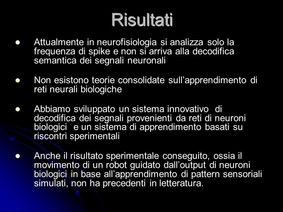 Risultati Attualmente in neurofisiologia si analizza solo la frequenza di spike e non si arriva alla decodifica semantica dei segnali neuronali Non es