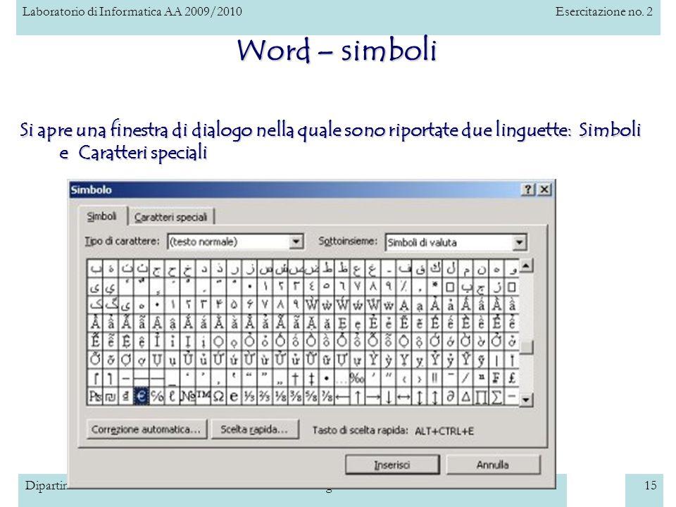 Laboratorio di Informatica AA 2009/2010Esercitazione no. 2 Dipartimento di Scienze dellInformazione – Università degli Studi di Milano15 Word – simbol