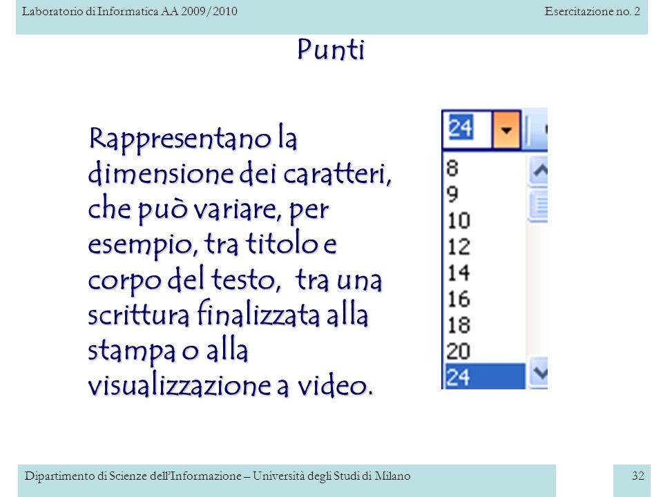 Laboratorio di Informatica AA 2009/2010Esercitazione no. 2 Dipartimento di Scienze dellInformazione – Università degli Studi di Milano32 Punti finestr