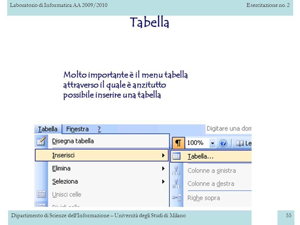 Laboratorio di Informatica AA 2009/2010Esercitazione no. 2 Dipartimento di Scienze dellInformazione – Università degli Studi di Milano55 Tabella Molto