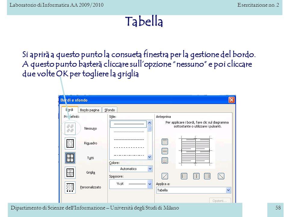 Laboratorio di Informatica AA 2009/2010Esercitazione no. 2 Dipartimento di Scienze dellInformazione – Università degli Studi di Milano58 Tabella Si ap