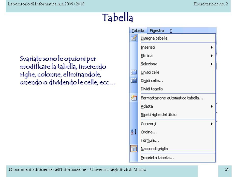 Laboratorio di Informatica AA 2009/2010Esercitazione no. 2 Dipartimento di Scienze dellInformazione – Università degli Studi di Milano59 Tabella Svari