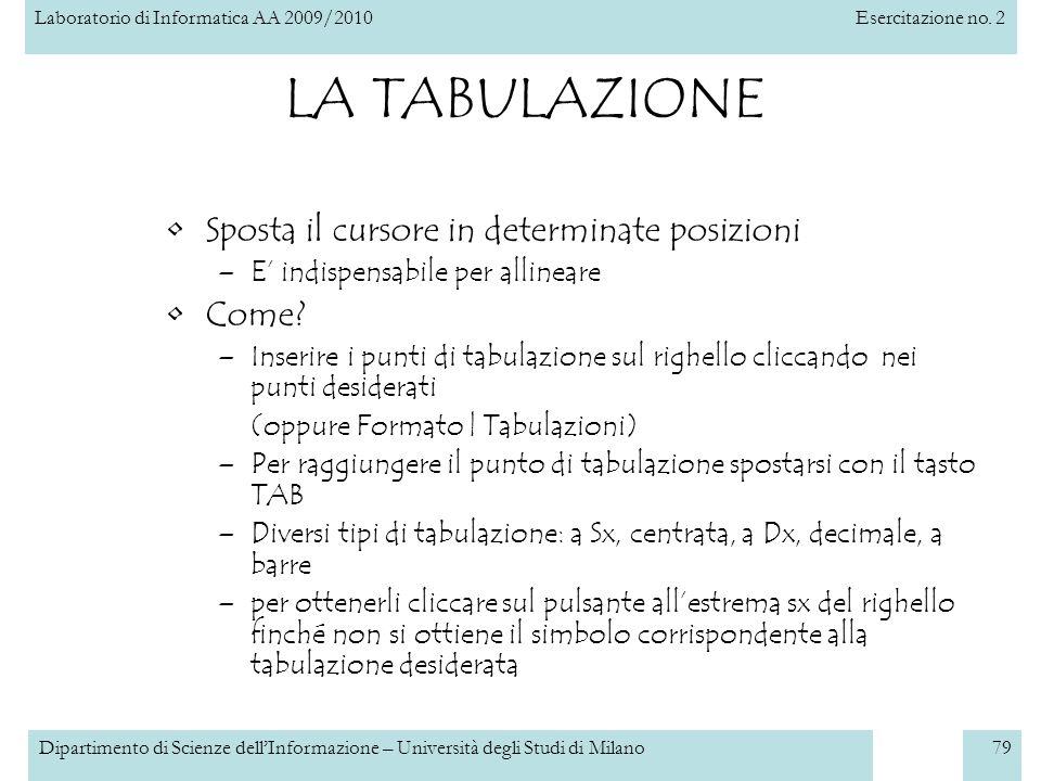 Laboratorio di Informatica AA 2009/2010Esercitazione no. 2 Dipartimento di Scienze dellInformazione – Università degli Studi di Milano79 LA TABULAZION