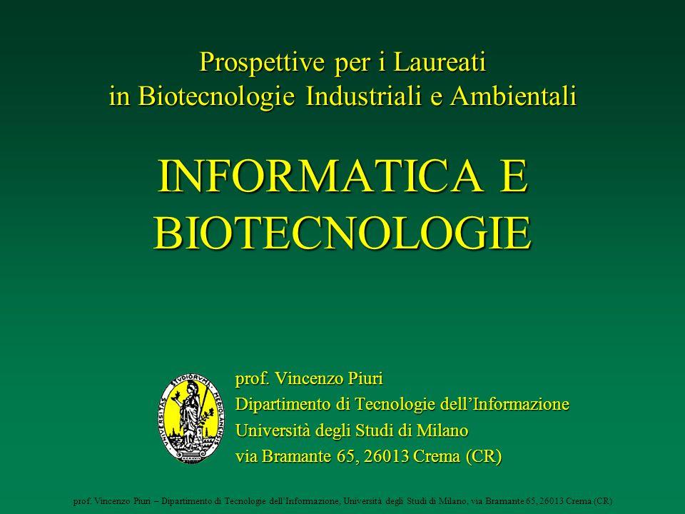 prof. Vincenzo Piuri – Dipartimento di Tecnologie dellInformazione, Università degli Studi di Milano, via Bramante 65, 26013 Crema (CR) Prospettive pe