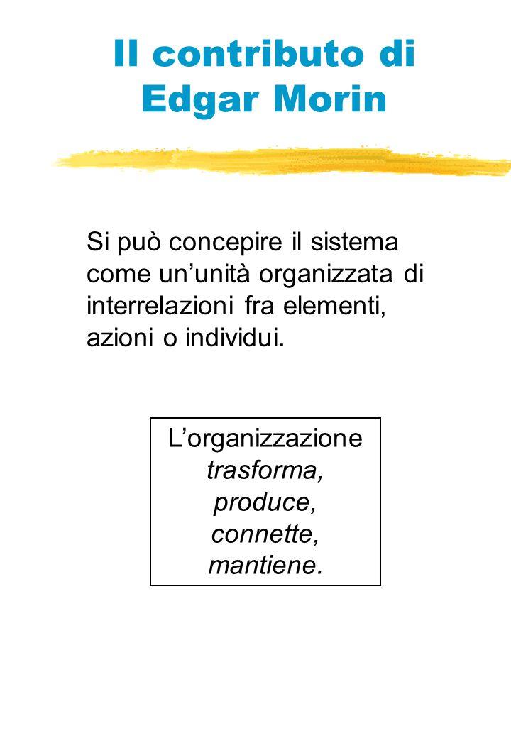 Il contributo di Edgar Morin Si può concepire il sistema come ununità organizzata di interrelazioni fra elementi, azioni o individui.