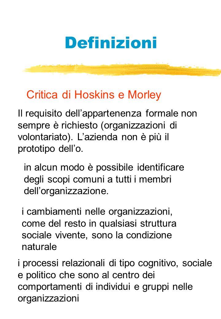 Definizioni Critica di Hoskins e Morley Il requisito dellappartenenza formale non sempre è richiesto (organizzazioni di volontariato).