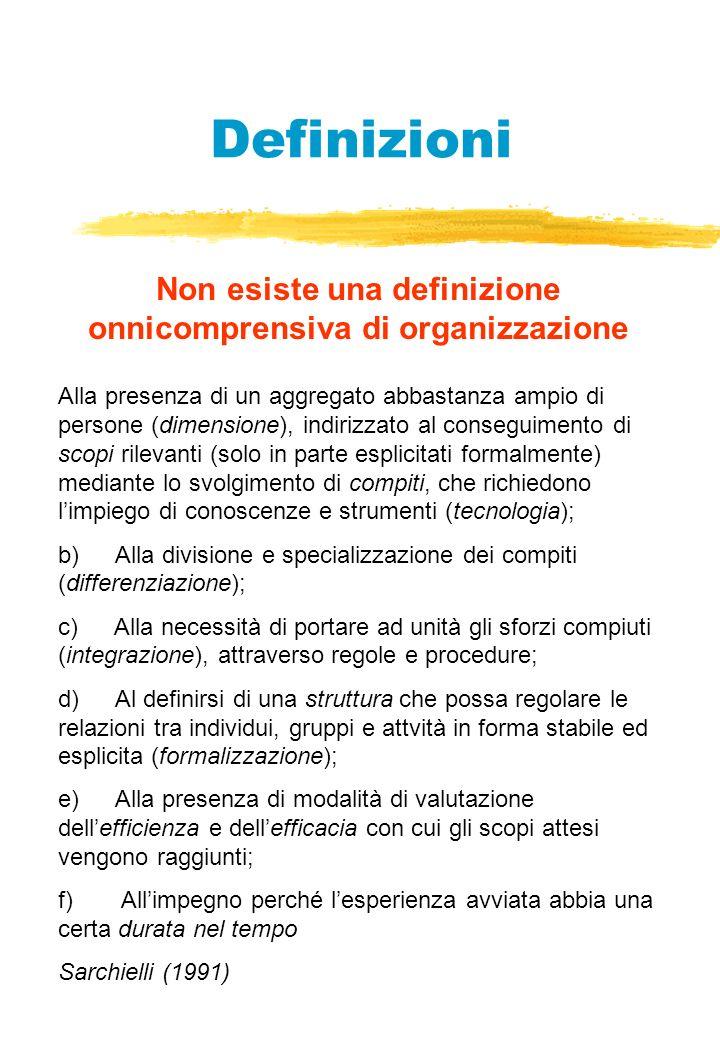 Definizioni Non esiste una definizione onnicomprensiva di organizzazione Alla presenza di un aggregato abbastanza ampio di persone (dimensione), indirizzato al conseguimento di scopi rilevanti (solo in parte esplicitati formalmente) mediante lo svolgimento di compiti, che richiedono limpiego di conoscenze e strumenti (tecnologia); b) Alla divisione e specializzazione dei compiti (differenziazione); c) Alla necessità di portare ad unità gli sforzi compiuti (integrazione), attraverso regole e procedure; d) Al definirsi di una struttura che possa regolare le relazioni tra individui, gruppi e attvità in forma stabile ed esplicita (formalizzazione); e) Alla presenza di modalità di valutazione dellefficienza e dellefficacia con cui gli scopi attesi vengono raggiunti; f) Allimpegno perché lesperienza avviata abbia una certa durata nel tempo Sarchielli (1991)
