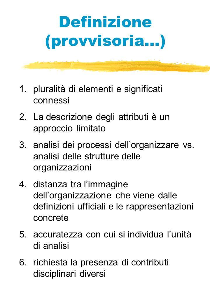 Definizione (provvisoria…) 1.pluralità di elementi e significati connessi 2.La descrizione degli attributi è un approccio limitato 3.analisi dei processi dellorganizzare vs.