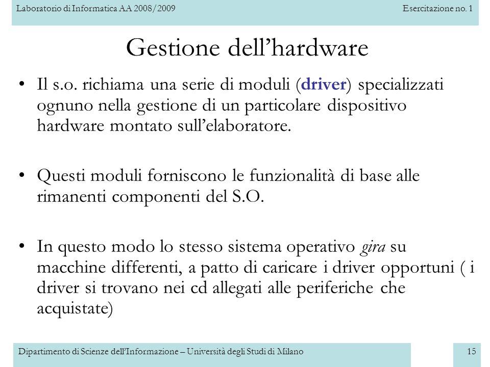 Laboratorio di Informatica AA 2008/2009Esercitazione no. 1 Dipartimento di Scienze dellInformazione – Università degli Studi di Milano15 Gestione dell