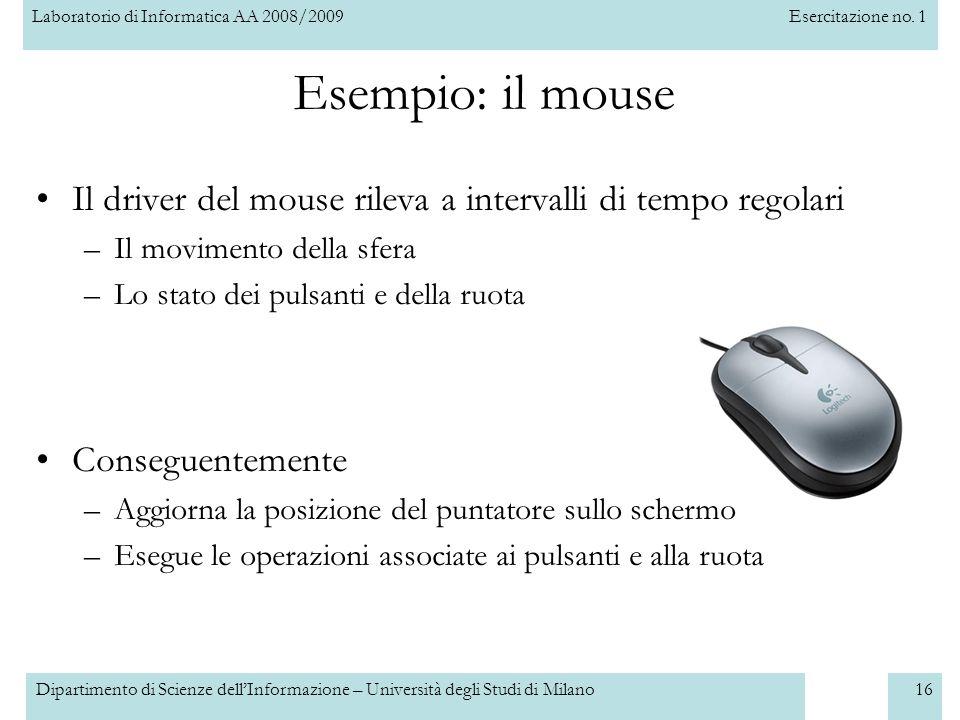 Laboratorio di Informatica AA 2008/2009Esercitazione no. 1 Dipartimento di Scienze dellInformazione – Università degli Studi di Milano16 Esempio: il m