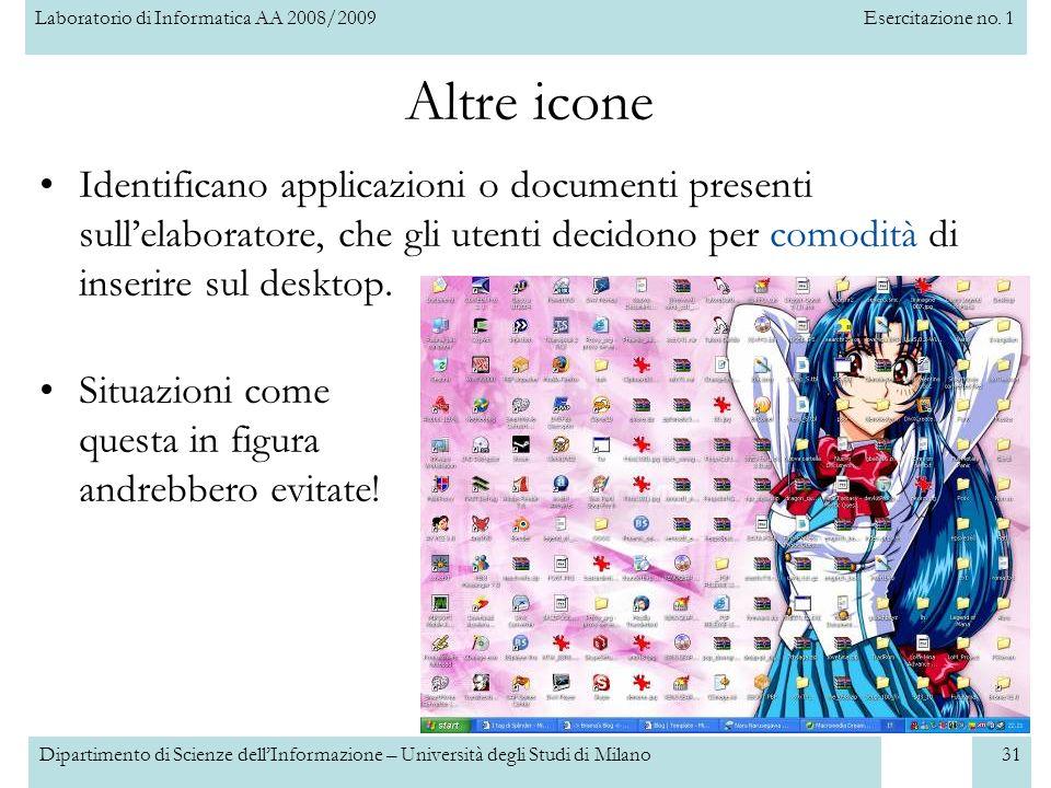 Laboratorio di Informatica AA 2008/2009Esercitazione no. 1 Dipartimento di Scienze dellInformazione – Università degli Studi di Milano31 Altre icone I