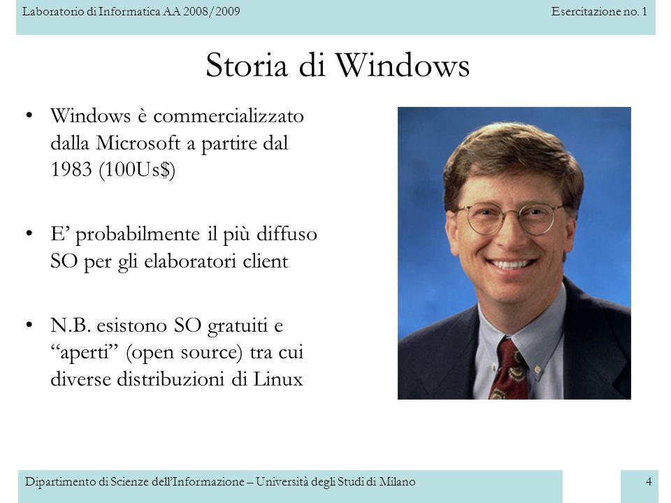 Laboratorio di Informatica AA 2008/2009Esercitazione no. 1 Dipartimento di Scienze dellInformazione – Università degli Studi di Milano4 Storia di Wind