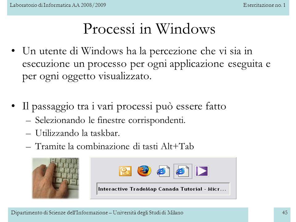 Laboratorio di Informatica AA 2008/2009Esercitazione no. 1 Dipartimento di Scienze dellInformazione – Università degli Studi di Milano45 Processi in W