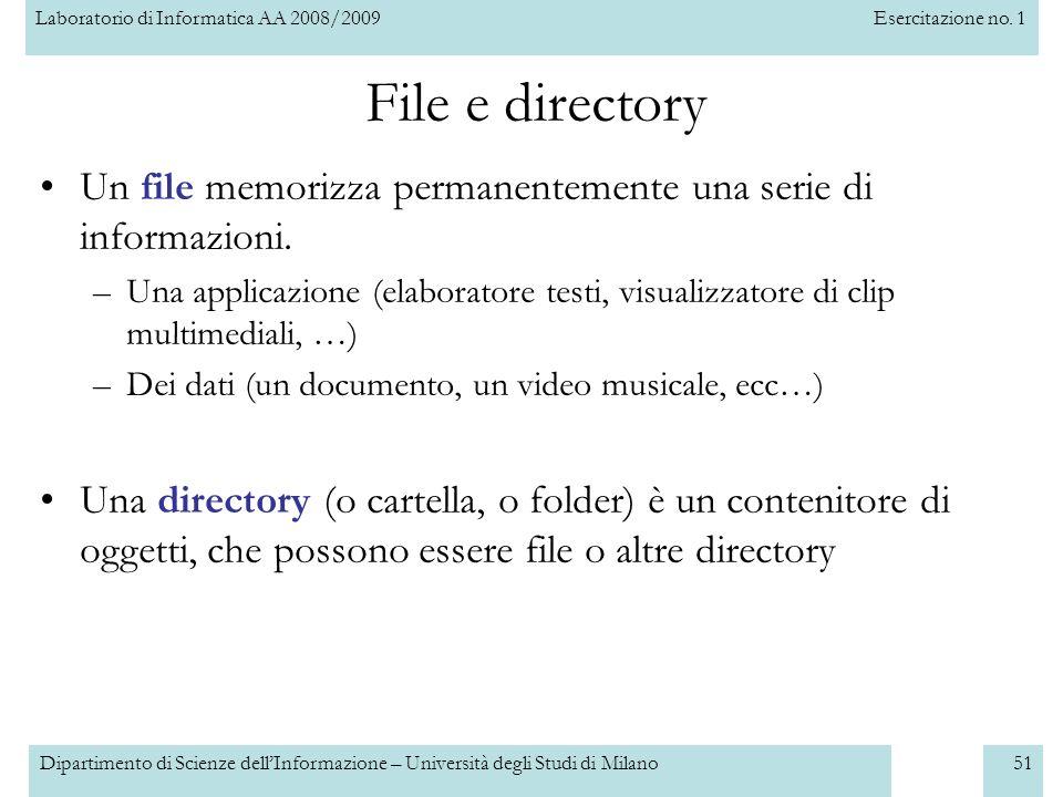 Laboratorio di Informatica AA 2008/2009Esercitazione no. 1 Dipartimento di Scienze dellInformazione – Università degli Studi di Milano51 File e direct