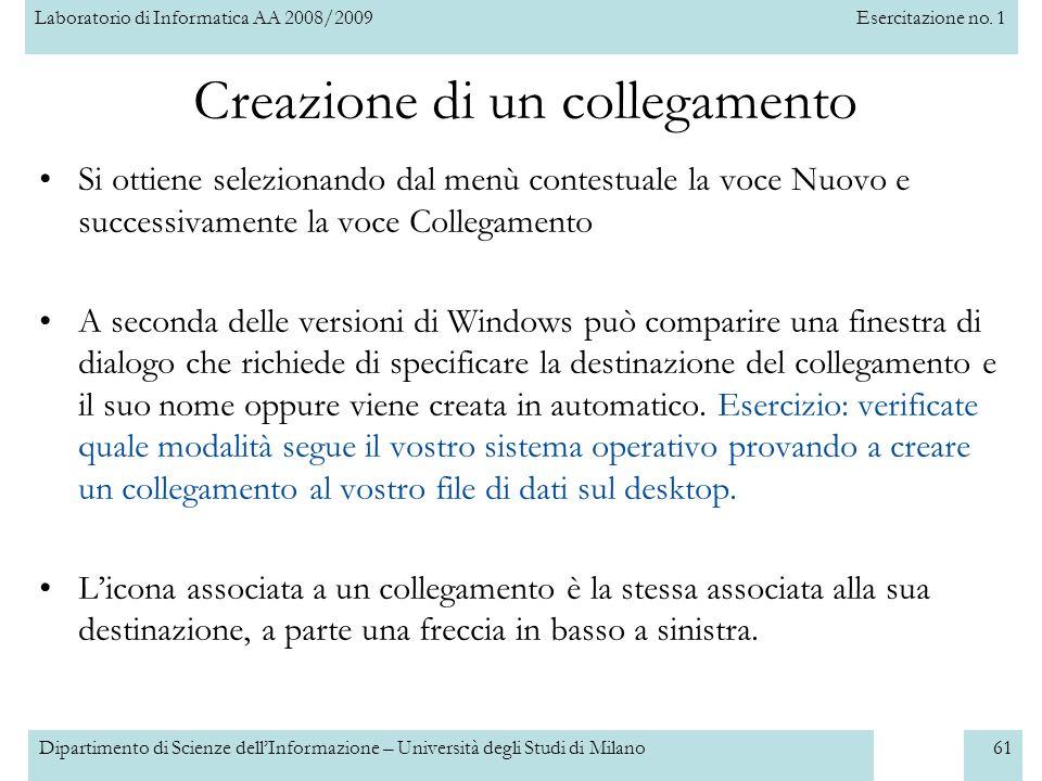 Laboratorio di Informatica AA 2008/2009Esercitazione no. 1 Dipartimento di Scienze dellInformazione – Università degli Studi di Milano61 Creazione di