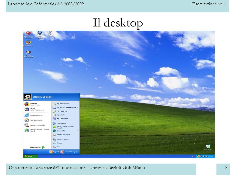 Laboratorio di Informatica AA 2008/2009Esercitazione no. 1 Dipartimento di Scienze dellInformazione – Università degli Studi di Milano8 Il desktop