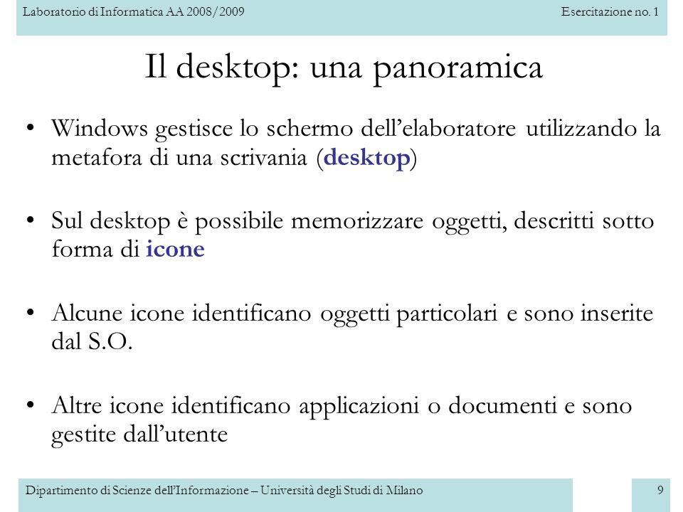 Laboratorio di Informatica AA 2008/2009Esercitazione no. 1 Dipartimento di Scienze dellInformazione – Università degli Studi di Milano9 Il desktop: un