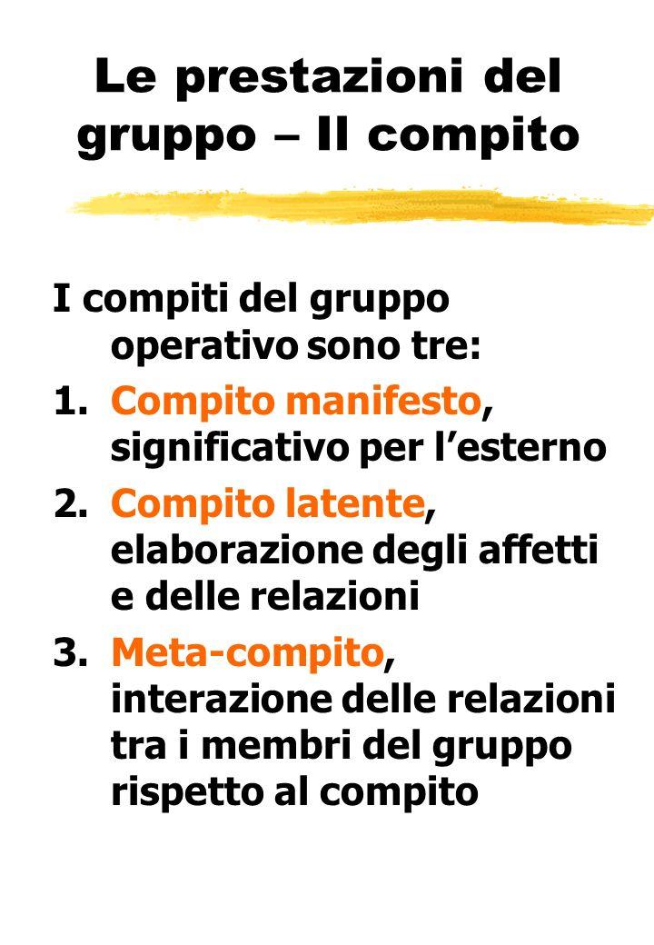Le prestazioni del gruppo – Il compito I compiti del gruppo operativo sono tre: 1.Compito manifesto, significativo per lesterno 2.Compito latente, ela