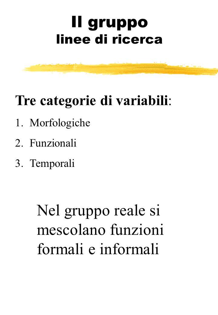 Il gruppo linee di ricerca Tre categorie di variabili: 1.Morfologiche 2.Funzionali 3.Temporali Nel gruppo reale si mescolano funzioni formali e inform