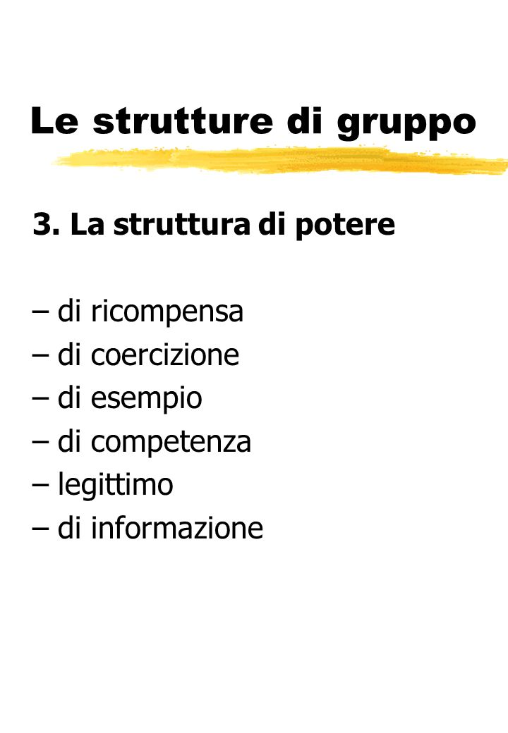 Le strutture di gruppo 3. La struttura di potere –di ricompensa –di coercizione –di esempio –di competenza –legittimo –di informazione