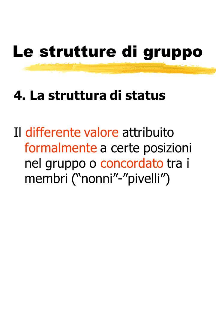 Le strutture di gruppo 4. La struttura di status Il differente valore attribuito formalmente a certe posizioni nel gruppo o concordato tra i membri (n