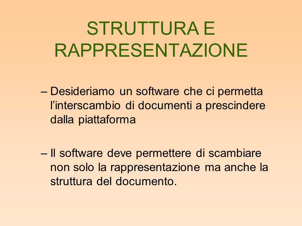 STRUTTURA E RAPPRESENTAZIONE –Desideriamo un software che ci permetta linterscambio di documenti a prescindere dalla piattaforma –Il software deve permettere di scambiare non solo la rappresentazione ma anche la struttura del documento.