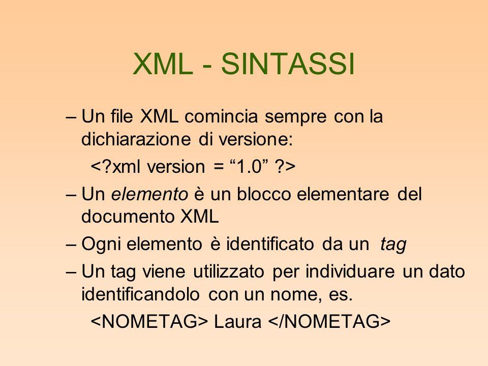 XML - SINTASSI –Un file XML comincia sempre con la dichiarazione di versione: –Un elemento è un blocco elementare del documento XML –Ogni elemento è identificato da un tag –Un tag viene utilizzato per individuare un dato identificandolo con un nome, es.