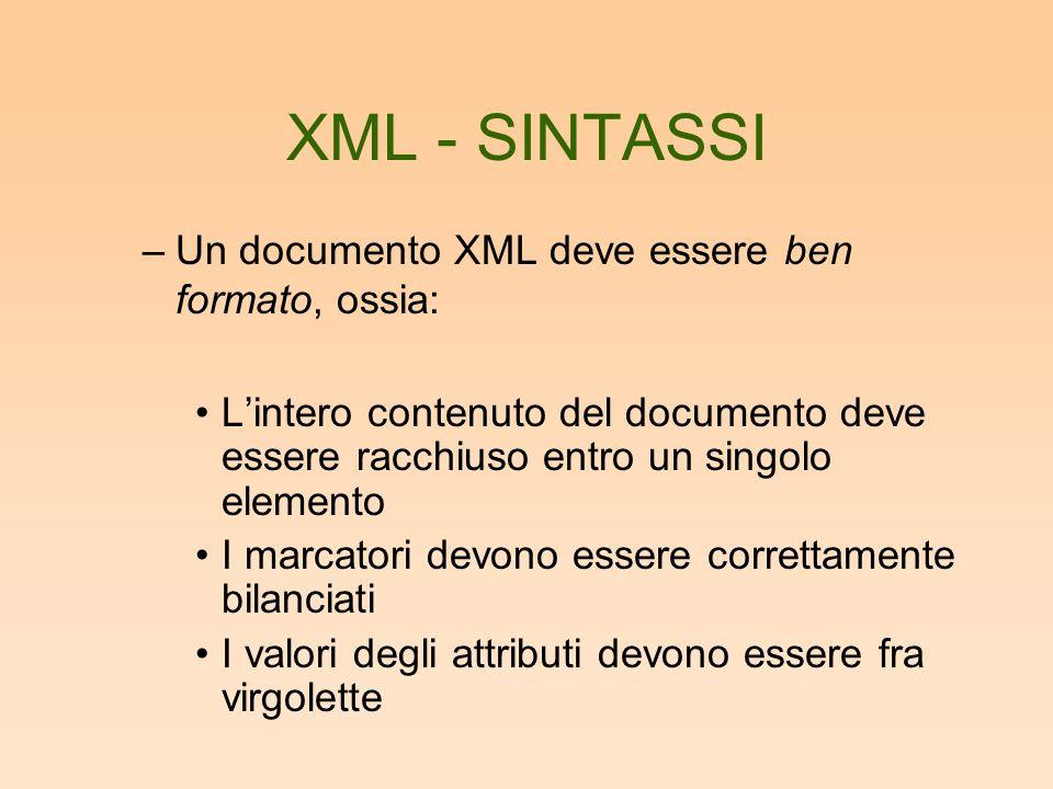 XML - SINTASSI –Un documento XML deve essere ben formato, ossia: Lintero contenuto del documento deve essere racchiuso entro un singolo elemento I marcatori devono essere correttamente bilanciati I valori degli attributi devono essere fra virgolette