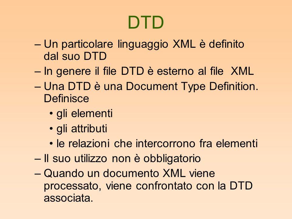 DTD –Un particolare linguaggio XML è definito dal suo DTD –In genere il file DTD è esterno al file XML –Una DTD è una Document Type Definition.