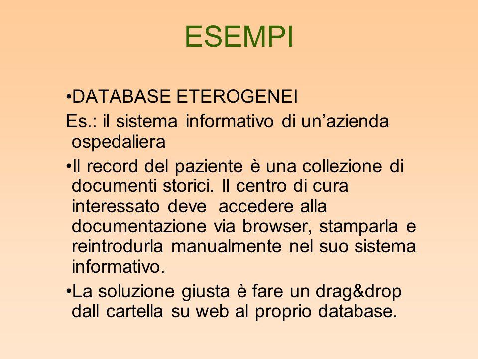 ESEMPI DATABASE ETEROGENEI Es.: il sistema informativo di unazienda ospedaliera Il record del paziente è una collezione di documenti storici.