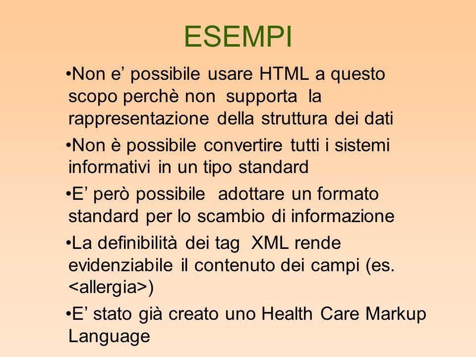 ESEMPI Non e possibile usare HTML a questo scopo perchè non supporta la rappresentazione della struttura dei dati Non è possibile convertire tutti i sistemi informativi in un tipo standard E però possibile adottare un formato standard per lo scambio di informazione La definibilità dei tag XML rende evidenziabile il contenuto dei campi (es.