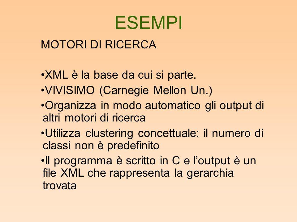 ESEMPI MOTORI DI RICERCA XML è la base da cui si parte.