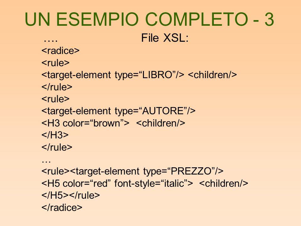 UN ESEMPIO COMPLETO - 3 ….File XSL: …