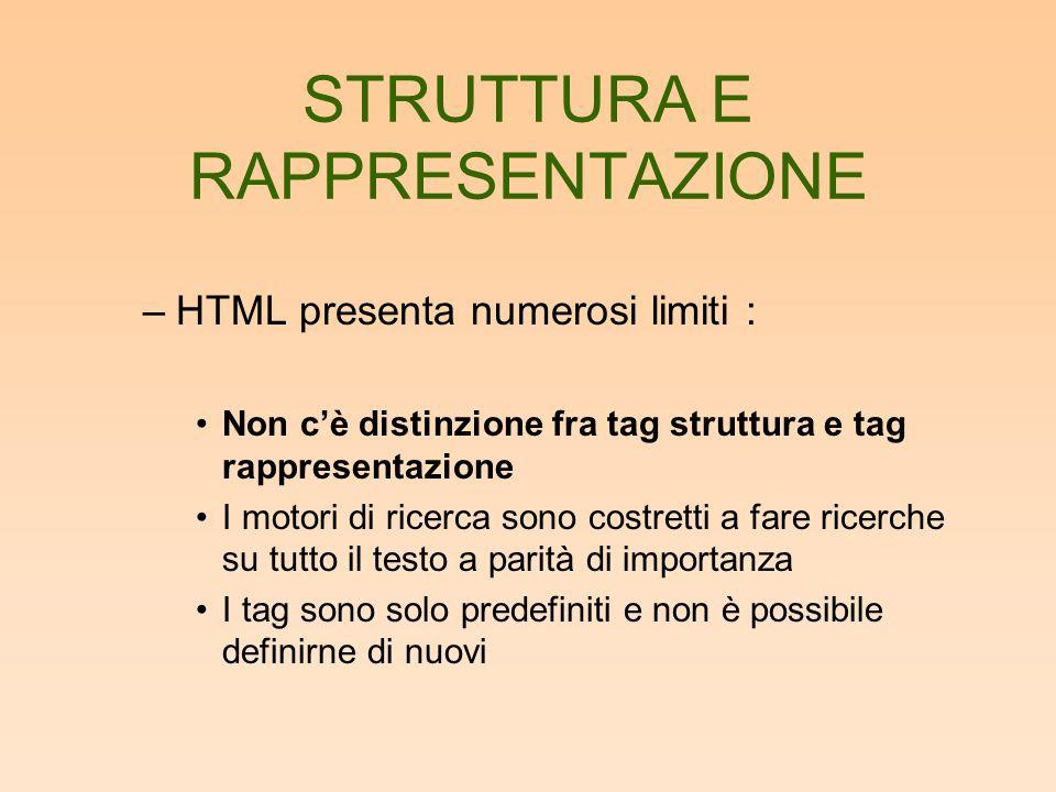 STRUTTURA E RAPPRESENTAZIONE –HTML presenta numerosi limiti : Non cè distinzione fra tag struttura e tag rappresentazione I motori di ricerca sono costretti a fare ricerche su tutto il testo a parità di importanza I tag sono solo predefiniti e non è possibile definirne di nuovi