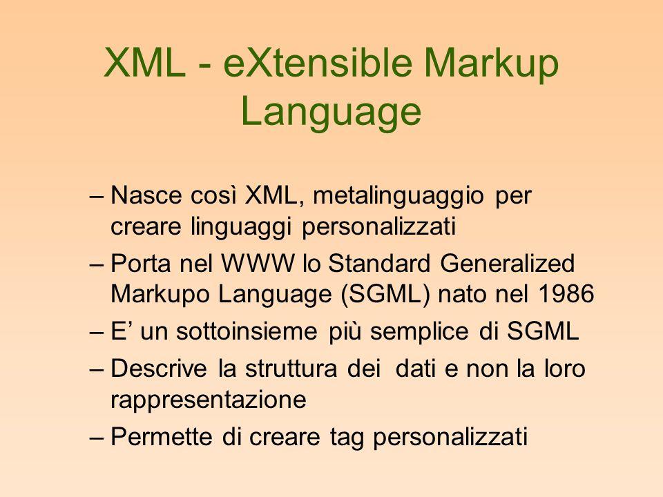 XML - eXtensible Markup Language –Nasce così XML, metalinguaggio per creare linguaggi personalizzati –Porta nel WWW lo Standard Generalized Markupo Language (SGML) nato nel 1986 –E un sottoinsieme più semplice di SGML –Descrive la struttura dei dati e non la loro rappresentazione –Permette di creare tag personalizzati