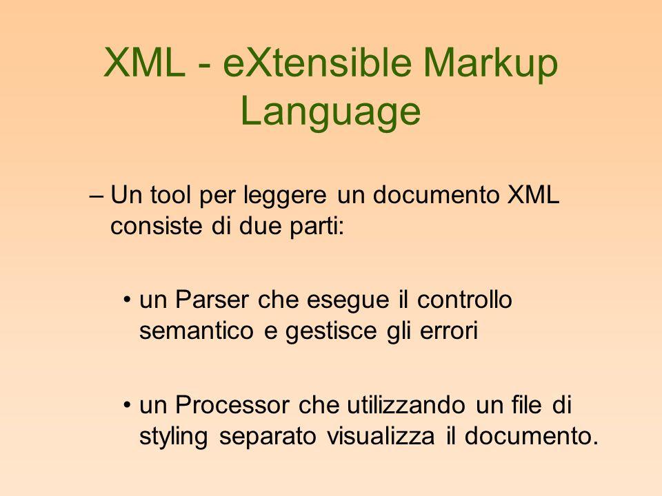 XML - eXtensible Markup Language –Un tool per leggere un documento XML consiste di due parti: un Parser che esegue il controllo semantico e gestisce gli errori un Processor che utilizzando un file di styling separato visualizza il documento.