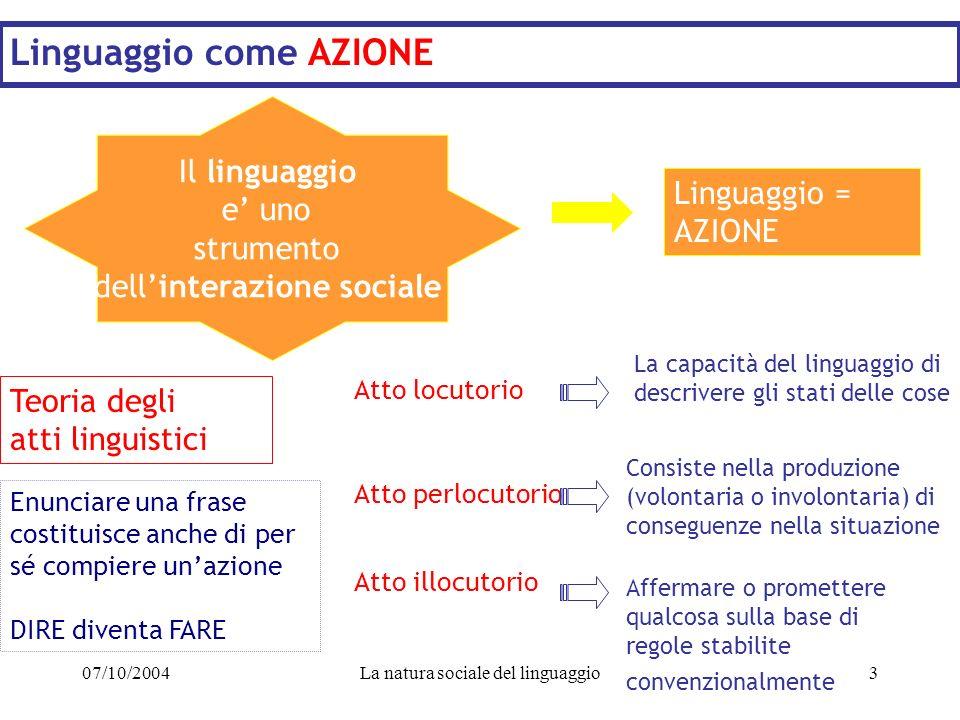 07/10/2004La natura sociale del linguaggio3 Linguaggio come AZIONE Il linguaggio e uno strumento dellinterazione sociale Linguaggio = AZIONE Teoria de
