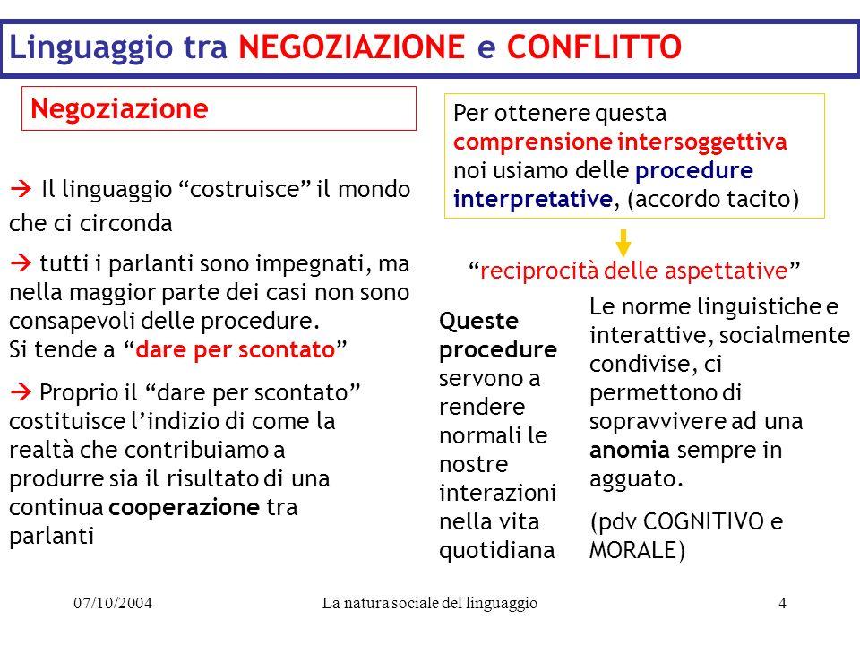 07/10/2004La natura sociale del linguaggio4 Linguaggio tra NEGOZIAZIONE e CONFLITTO Negoziazione Il linguaggio costruisce il mondo che ci circonda tut