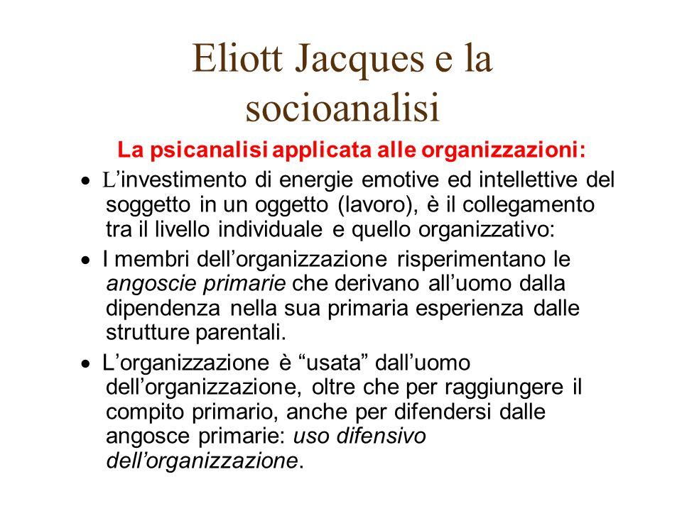Eliott Jacques e la socioanalisi La psicanalisi applicata alle organizzazioni: L investimento di energie emotive ed intellettive del soggetto in un og