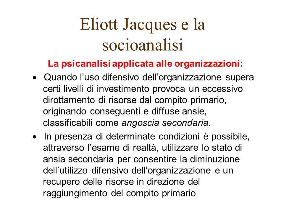Eliott Jacques e la socioanalisi La psicanalisi applicata alle organizzazioni: Quando luso difensivo dellorganizzazione supera certi livelli di invest