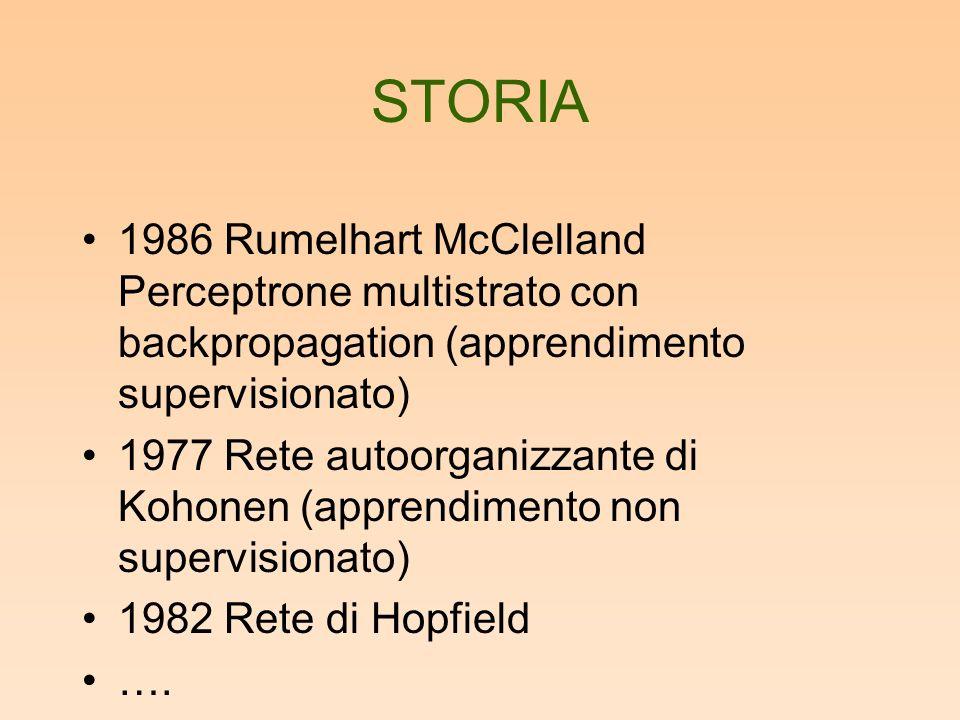 1986 Rumelhart McClelland Perceptrone multistrato con backpropagation (apprendimento supervisionato) 1977 Rete autoorganizzante di Kohonen (apprendimento non supervisionato) 1982 Rete di Hopfield ….