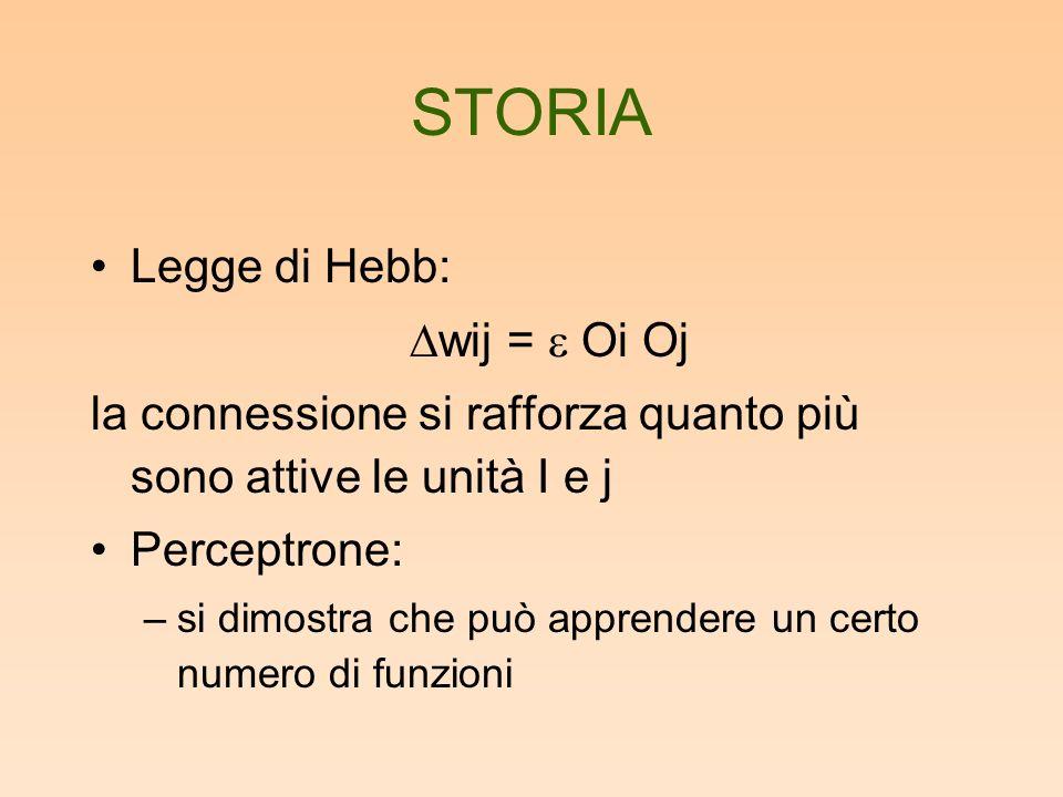 STORIA Legge di Hebb: wij = Oi Oj la connessione si rafforza quanto più sono attive le unità I e j Perceptrone: –si dimostra che può apprendere un cer