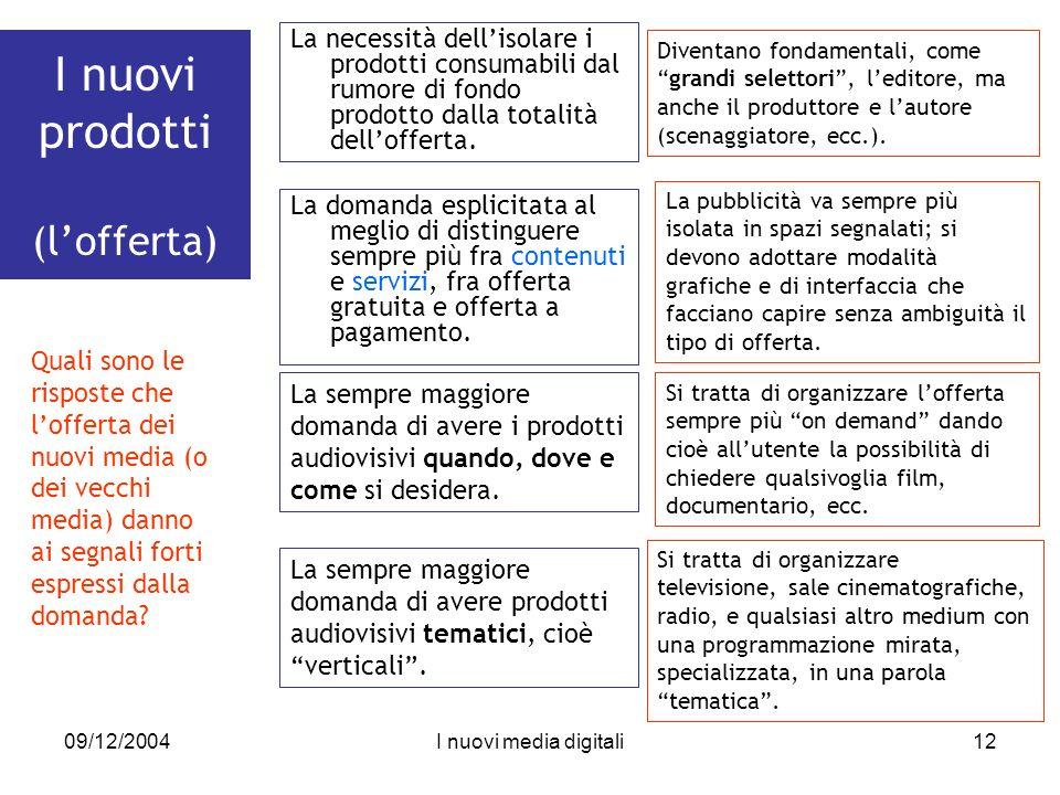 09/12/2004I nuovi media digitali12 I nuovi prodotti (lofferta) La necessità dellisolare i prodotti consumabili dal rumore di fondo prodotto dalla totalità dellofferta.