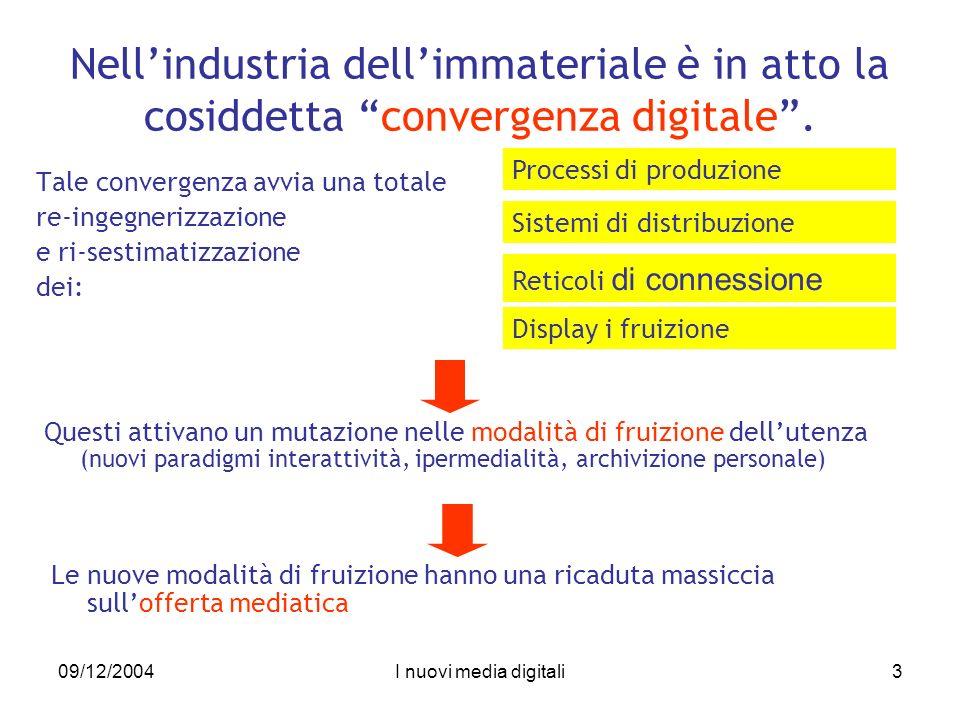 09/12/2004I nuovi media digitali3 Nellindustria dellimmateriale è in atto la cosiddetta convergenza digitale.