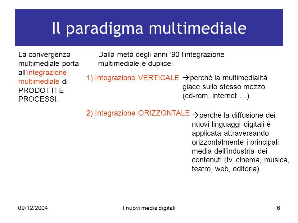 09/12/2004I nuovi media digitali6 Il paradigma multimediale La convergenza multimediale porta allintegrazione multimediale di PRODOTTI E PROCESSI.