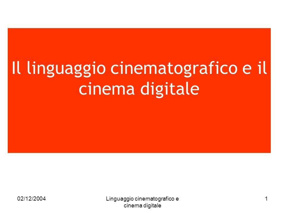 02/12/2004Linguaggio cinematografico e cinema digitale 2 PROCESSO in continua evoluzione Il linguaggio cinematografico STRUTTURA permanente