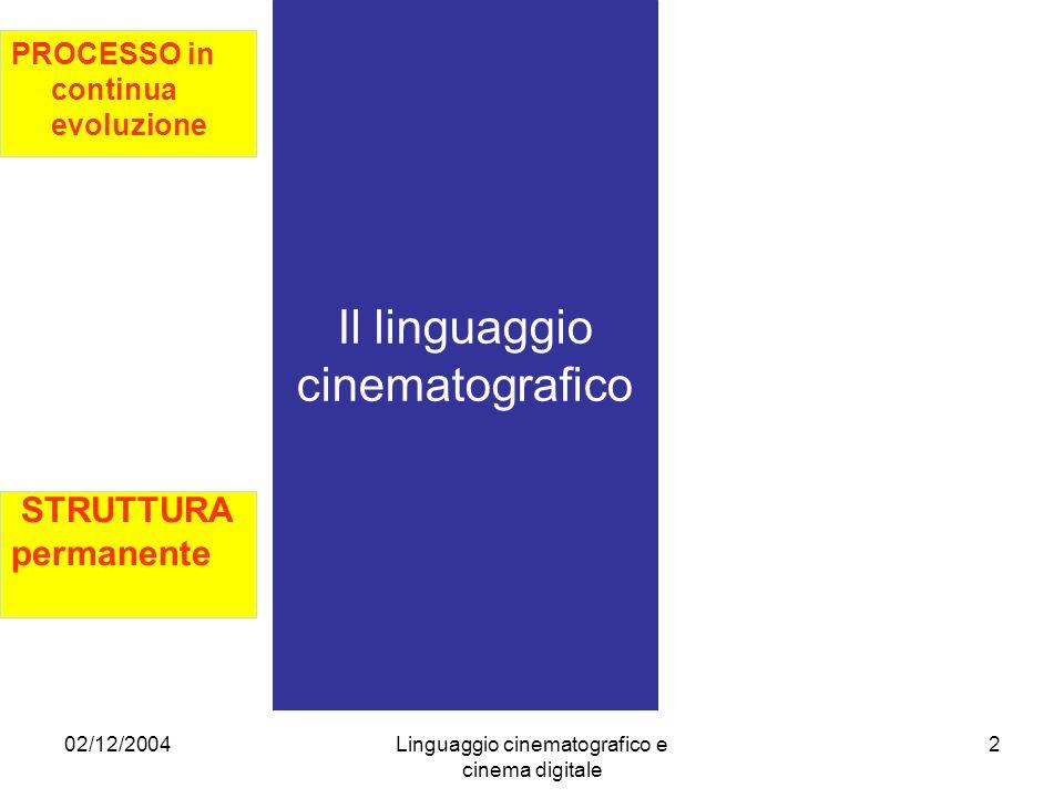 02/12/2004Linguaggio cinematografico e cinema digitale 3 PROCESSO in continua evoluzione Il linguaggio cinematografico 1) Cinema delle origini (primato VISIONE) 2) Cinema classico (primato NARRAZIONE) 3) Cinema moderno (primato CONSAPEVOLEZZA) 4) Cinema post- moderno (primato ESPERIENZA)