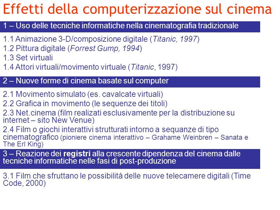 Effetti della computerizzazione sul cinema 1 – Uso delle tecniche informatiche nella cinematografia tradizionale 1.1 Animazione 3-D/composizione digit