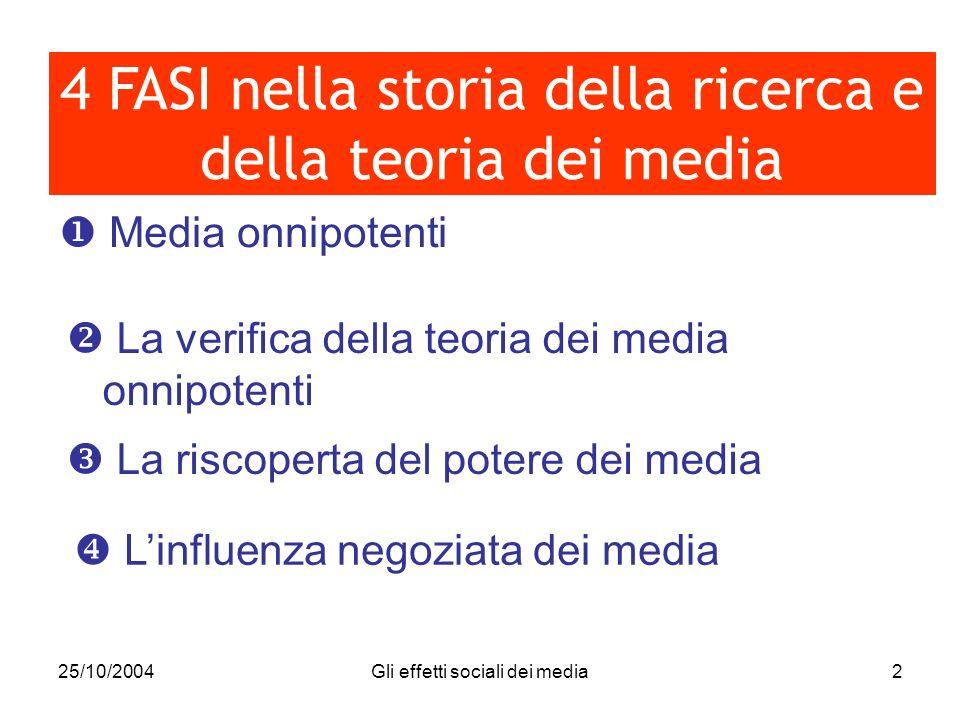 25/10/2004Gli effetti sociali dei media2 Media onnipotenti 4 FASI nella storia della ricerca e della teoria dei media La verifica della teoria dei med