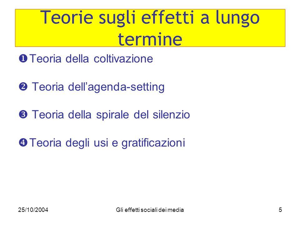 25/10/2004Gli effetti sociali dei media5 Teoria della coltivazione Teoria dellagenda-setting Teoria della spirale del silenzio Teoria degli usi e grat